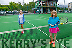 Aine MacGillicuddy and Sally Ryle enjoying a game of tennis at the Tralee Tennis Club having reopened on Monday.
