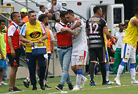 SANTA MARTA - COLOMBIA, 11-05-2019: Mariano Vasquez de Pasto celebra después de anotar el primer gol de su equipo durante el partido por la fecha 1, cuadrangulares semifinales, de la Liga Águila I 2019 entre Unión Magdalena y Deportivo Pasto jugado en el estadio Sierra Nevada de la ciudad de Santa Marta / Mariano Vasquez of Pasto celebrates after scoring the first goal of his team during match for the date 1 of the semifinal quadrangular as part Aguila League I 2019 between Union Magdalena and Deportivo Pasto played at Sierra Nevada stadium in Santa Marta city. Photo: VizzorImage / Gustavo Pacheco / Cont