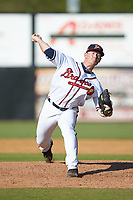 Danville Braves relief pitcher Jacob Belinda (52) in action against the Bristol Pirates at American Legion Post 325 Field on July 1, 2018 in Danville, Virginia. The Braves defeated the Pirates 3-2 in 10 innings. (Brian Westerholt/Four Seam Images)