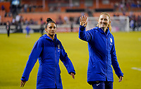HOUSTON, TX - JANUARY 31: Lynn Williams #13, Samantha Mewis #3 celebrate with the fans during a game between Panama and USWNT at BBVA Stadium on January 31, 2020 in Houston, Texas.