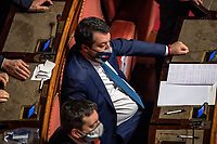 The secretary of Lega party Matteo Salvini during the information at the Senate about the government crisis.<br /> Rome(Italy), January 19th 2021<br /> Photo Pool Antonio Masiello/Insidefoto