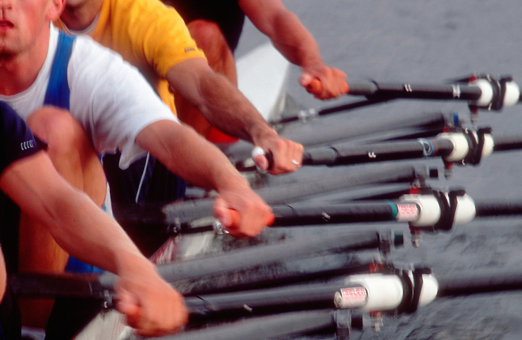 Rowing, Men's quad teamwork, close up of hands