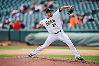 Salt Lake Bees starting pitcher Alex Blackford (34) throws to the plate against the El Paso Chihuahuas in Pacific Coast League action at Smith's Ballpark on April 30, 2017 in Salt Lake City, Utah. El Paso defeated Salt Lake 3-0. This was Game 1 of a double-header. (Stephen Smith/Four Seam Images)