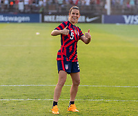 EAST HARTFORD, CT - JULY 5: Kelley O'Hara #5 of the USWNT waves to the crowd during a game between Mexico and USWNT at Rentschler Field on July 5, 2021 in East Hartford, Connecticut.