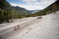 first breakaway attempt of the day by Mirco Maestri (ITA/Bardiani - CSF) & Marco Frapporti (ITA/Androni-Giocattoli)<br /> <br /> Stage 18: Valdaora/Olang to Santa Maria di Sala (222km)<br /> 102nd Giro d'Italia 2019<br /> <br /> ©kramon