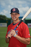 Elizabethton Twins Trevor Larnach (9) poses for a photo before a game against the Bristol Pirates on July 29, 2018 at Joe O'Brien Field in Elizabethton, Tennessee.  Bristol defeated Elizabethton 7-4.  (Mike Janes/Four Seam Images)