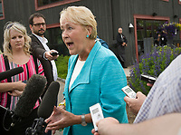 Parti Quebecois leader Pauline Marois gestures as she speak during a press conference at Dushesnay Conservation centre in Sainte-Catherine-de-la-Jacques-Cartier, just north of Quebec city, Wednesday June 22, 2011. Marois called a special caucus meeting to try to settle the internal dissension of the last few weeks.<br /> <br /> PHOTO :  Francis Vachon - Agence Quebec Presse