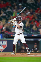 Hunter Stovall (13) of the Mississippi State Bulldogs at bat against the Houston Cougars in game six of the 2018 Shriners Hospitals for Children College Classic at Minute Maid Park on March 3, 2018 in Houston, Texas. The Bulldogs defeated the Cougars 3-2 in 12 innings. (Brian Westerholt/Four Seam Images)