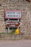 road sign dezize les maranges santenay cote de beaune burgundy france