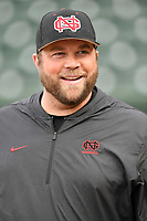 Head coach Landon Powell of the North Greenville Crusaders in a game against the Queens University Royals on Tuesday, March 12, 2019, at Fluor Field at the West End in Greenville, South Carolina. North Greenville won, 14-3. (Tom Priddy/Four Seam Images)