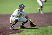 Michigan Wolverines third baseman Christian Molfetta (14) on defense against the Maryland Terrapins on May 23, 2021 in NCAA baseball action at Ray Fisher Stadium in Ann Arbor, Michigan. Maryland beat the Wolverines 7-3. (Andrew Woolley/Four Seam Images)