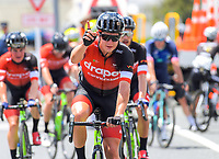 Jensen Plowright (Drapac) celebrates his win. Stage Three - Te ara roa (Te Awamutu circuit). 2019 Grassroots Trust NZ Cycle Classic UCI 2.2 Tour from Te Awamutu in Cambridge, New Zealand on Friday, 25 January 2019. Photo: Dave Lintott / lintottphoto.co.nz