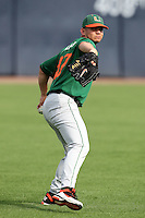 """Miami Hurricanes AJ Salcines #47 during a game vs. the University of South Florida Bulls in the """"Florida Four"""" at George M. Steinbrenner Field in Tampa, Florida;  March 1, 2011.  USF defeated Miami 4-2.  Photo By Mike Janes/Four Seam Images"""