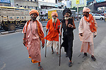 June 21 2012, New Delhi, India:  Holy men walking the streets of Delhi.          Picture by Graham Crouch/Holland Herald