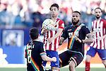 Atletico de Madrid's Oliver Torres (c) and Rayo Vallecano's  Tito Roman (l) and Bebe during La Liga match. April 30,2016. (ALTERPHOTOS/Acero)