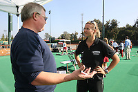 6 November 2007: Stanford Cardinal head coach Lesley Irvine (right) and Palo Alto Weekly reporter Rick Eymer (left) during Stanford's 1-0 win against the Lock Haven Lady Eagles in an NCAA play-in game to advance to the NCAA tournament at the Varsity Field Hockey Turf in Stanford, CA.