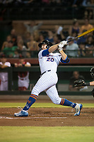 Scottsdale Scorpions first baseman Peter Alonso (20), of the New York Mets organization, follows through on his swing during an Arizona Fall League game against the Salt River Rafters at Scottsdale Stadium on October 12, 2018 in Scottsdale, Arizona. Scottsdale defeated Salt River 6-2. (Zachary Lucy/Four Seam Images)