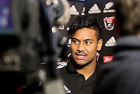 Julian Savea at the All Blacks media conference ahead of the test match against England, Southern Cross Hotel, Dunedin, New Zealand, Thursday, June 12, 2014. Credit: NINZ/Dianne Manson