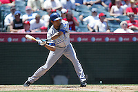 Tony Pena of the Kansas City Royals during a game against the Los Angeles Angels in a 2007 MLB season game at Angel Stadium in Anaheim, California. (Larry Goren/Four Seam Images)