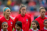 CARSON, CA - FEBRUARY 9: Julie Ertz #8, Alyssa Naeher #1 and Emily Sonnett #2 of the United States during a game between Canada and USWNT at Dignity Health Sports Park on February 9, 2020 in Carson, California.