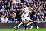 Carlos Henrique Casemiro of Real Madrid (R) battles for the ball with Laureano Antonio Villa Suarez, Toni, of Real Valladolid during the La Liga 2018-19 match between Real Madrid and Real Valladolid at Estadio Santiago Bernabeu on November 03 2018 in Madrid, Spain. Photo by Diego Souto / Power Sport Images
