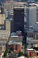 aerial photograph of the Equitable Insurance Company tower toward the Grady Memorial Hospital visible in the background, Atlanta, Georgia