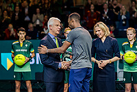 Rotterdam, The Netherlands, 16 Februari 2020, ABNAMRO World Tennis Tournament, Ahoy,<br /> Mens Single Final: Gaël Monfils (FRA)  gets the trophy handed over from the CEO of the ABNAMRO Bank Kees van Dijkhuizen and director Ahoy Jolanda Jansen<br /> Photo: www.tennisimages.com