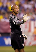 Tim Howard (1) of the USMNT tells his defence to relax during an international friendly at the New Meadowlands Stadium in East Rutherford, NJ. Brazil defeated the USMNT, 2-0.