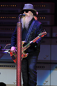 WEST PALM BEACH, FL - OCTOBER 20: Dusty Hill of ZZ Top performs during the 50th Anniversary Tour at The Coral Sky Amphitheatre on October 20, 2019 in West Palm Beach Florida. Credit Larry Marano © 2019