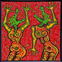 Nov. 14.2020. Vista CA. | Artist Jamie Scott Lytle, Dancing Dogz 4. Acrylic on Board, 48'X48'. 2020. Vista, CA. Part of Dancingb DogzSeries.  Photo and art by Jamie Scott Lytle. Copyright.