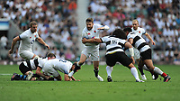 Elliot Daly of England looks to go through Tatafu Polota-Nau (Leicester & Australia) of Barbarians during the Quilter Cup match between England and Barbarians at Twickenham Stadium on Sunday 27th May 2018 (Photo by Rob Munro/Stewart Communications)