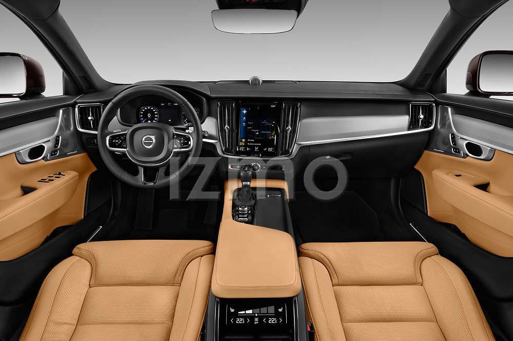 Stock photo of straight dashboard view of a 2018 Volvo V90 Corss Country Pro 5 Door Wagon