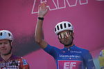 Maglia Azzurra Ruben Guerreiro (POR) EF Pro Cycling at sign on before the start of Stage 11 of the 103rd edition of the Giro d'Italia 2020 running 182km from Porto Sant'Elpidio to Rimini, Italy. 14th October 2020.  <br /> Picture: LaPresse/Gian Mattia D'Alberto | Cyclefile<br /> <br /> All photos usage must carry mandatory copyright credit (© Cyclefile | LaPresse/Gian Mattia D'Alberto)