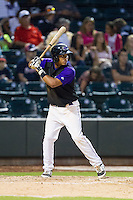 Cleuluis Rondon (5) of the Winston-Salem Dash at bat against the Lynchburg Hillcats at BB&T Ballpark on August 13, 2014 in Winston-Salem, North Carolina.  The Hillcats defeated the Dash 4-3.   (Brian Westerholt/Four Seam Images)