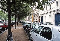 Paris: Avenue de Villars near Invalides--cars parked everywhere. Photo '90.