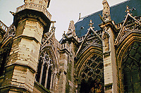Exterior detail of Notre Dame Cathedral. Gothic architecture