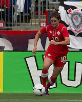 Canadian forward Christina Julen (10) brings the ball forward. In an international friendly, Canada defeated Brasil, 2-1, at Gillette Stadium on March 24, 2012.