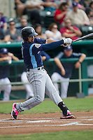 Corpus Christi Hooks second baseman Jio Mier (5) swings the bat during the Texas League baseball game against the San Antonio Missions on May 10, 2015 at Nelson Wolff Stadium in San Antonio, Texas. The Missions defeated the Hooks 6-5. (Andrew Woolley/Four Seam Images)