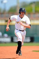 Bradenton Marauders outfielder Taylor Lewis #2 during a game against the Fort Myers Miracle at McKechnie Field on April 7, 2013 in Bradenton, Florida.  Fort Myers defeated Bradenton 9-8 in ten innings.  (Mike Janes/Four Seam Images)