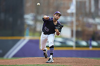 High Point Panthers starting pitcher Muhammed Eid (23) delivers a pitch to the plate against the North Carolina Central Eagles at Williard Stadium on February 28, 2017 in High Point, North Carolina. The Eagles defeated the Panthers 11-5. (Brian Westerholt/Four Seam Images)