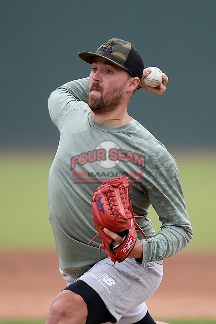 Boston Red Sox pitcher Heath Hembree throws live batting practice on Tuesday, June 16, 2020, at Fluor Field at the West End in Greenville, South Carolina. Team workouts have been shut down during the coronavirus pandemic, so this group began working out in game situation simulations a couple of days a week. Hembree has spent seven seasons in the majors, mostly with Boston. He has played with Broome High, Spartanburg Methodist and College of Charleston. (Tom Priddy/Four Seam Images)
