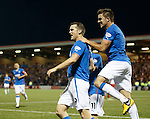 Jon Daly celebrates his debut competitive goal for Rangers with Nicky Law abd Andy Little