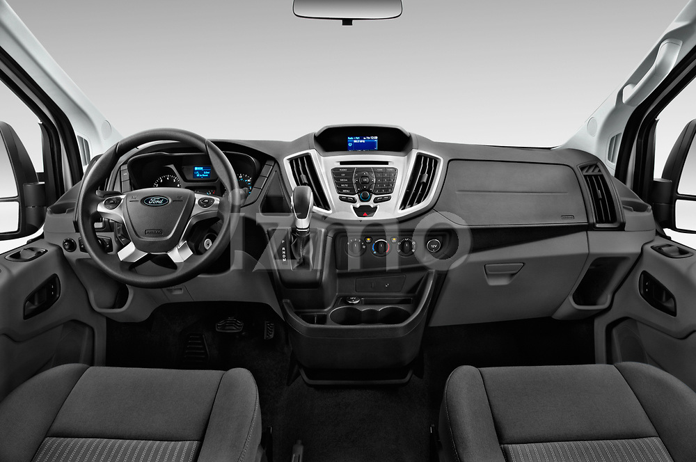 Stock photo of straight dashboard view of a 2019 Ford Transit Wagon 350 XLT Wagon Low Roof 60/40 Pass. 148WB 5 Door Passenger Van