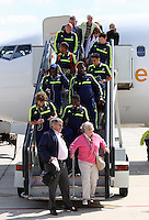 Wednesday 18 September 2013<br /> Pictured: Players disembark from the aeroplane upon their arrival to Valencia, Spain.<br /> Re: Swansea City FC players and staff travelling to Spain for their UEFA Europa League game against Valencia.