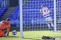 5th April 2021; Madejski Stadium, Reading, Berkshire, England; English Football League Championship Football, Reading versus Derby County;  David Marshall of Derby County is left frustrated as George Puşcaş of Reading turns away and celebrates scoring in the 54th minute for 2-0
