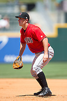 Indianapolis Indians first baseman John Bowker (19) on defense against the Charlotte Knights at BB&T BallPark on June 21, 2015 in Charlotte, North Carolina.  The Knights defeated the Indians 13-1.  (Brian Westerholt/Four Seam Images)