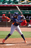 Houston Astros Ronnie Dawson (95) bats during a Major League Spring Training game against the St. Louis Cardinals on March 20, 2021 at Roger Dean Stadium in Jupiter, Florida.  (Mike Janes/Four Seam Images)