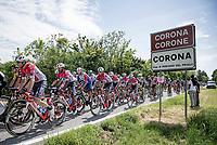 peloton leaving (the village of) Corona behind<br /> <br /> 104th Giro d'Italia 2021 (2.UWT)<br /> Stage 15 from Grado to Gorizia (147km)<br /> <br /> ©kramon