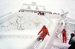 Children Playing on Ice Slide, Sapporo, Japan