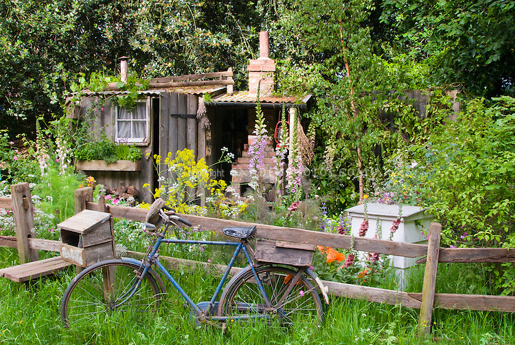 Charming farm garden, Foxglove, meadow wildflowers, rustic shed, old ladder, tin roof, charming antique simple gardening, windowbox of herbs, outdoor fireplace, bicycle, beehive, farming, fence